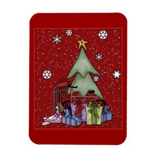 Árbol de navidad y regalos imán de vinilo
