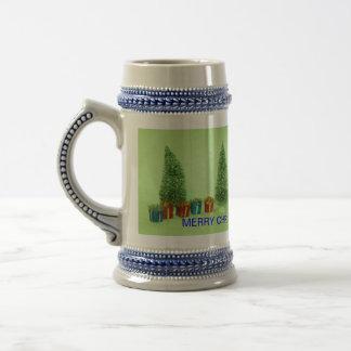 Árbol de navidad y Stein del presente Taza De Café