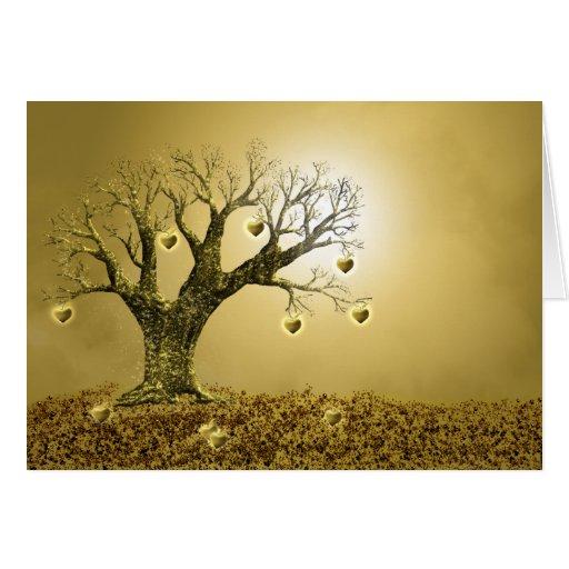 Árbol de oro de los corazones - tarjeta de
