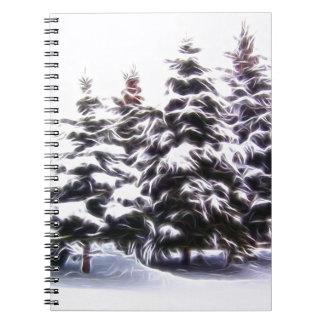 Árbol de pino 4 con nieve cuadernos