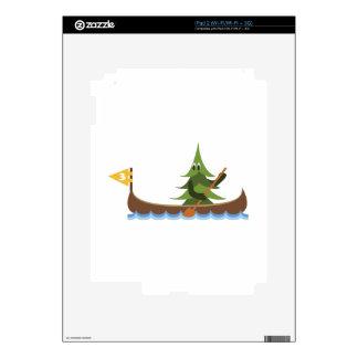 Árbol de pino Canoeing iPad 2 Calcomanía