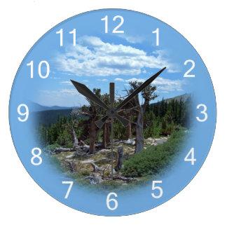 Árbol de pino de Bristlecone Reloj Redondo Grande