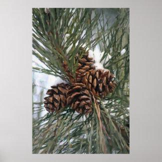 Árbol de pino de Pinecones en la impresión de la n Póster