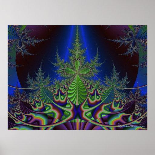 Árbol de pino del fractal poster