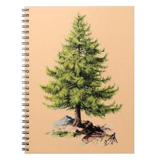 Árbol de pino del vintage libreta
