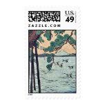 Árbol de pino en la orilla por Utagawa, Kuniyoshi Sellos