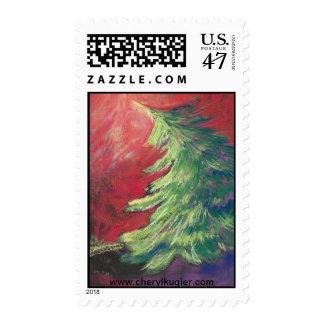 Árbol de pino/franqueo en colores pastel timbre postal