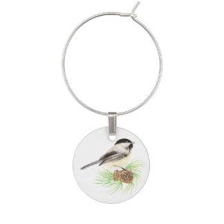 Árbol de pino lindo del pájaro del Chickadee de la Identificador De Copa