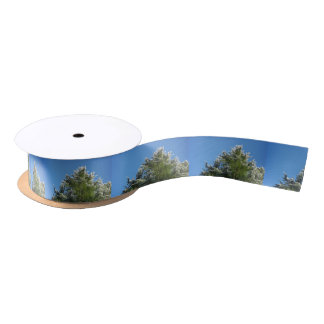 árbol de pino Nieve-inclinado en el cielo azul Lazo De Raso