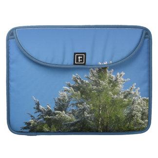 árbol de pino Nieve-inclinado en el cielo azul Fundas Macbook Pro