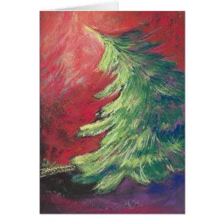 Árbol de pino/tarjeta de nota en colores pastel tarjeta pequeña