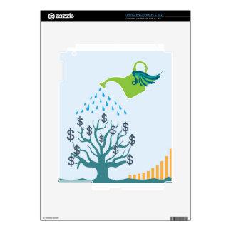 Árbol de riego del dinero iPad 2 calcomanía