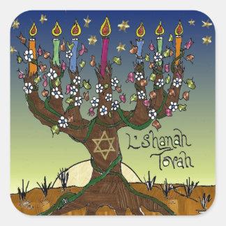 Árbol de Rosh Hashanah L'Shanah Tovah de la vida Pegatina Cuadrada