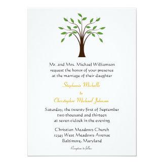 """Árbol de simbólico moderno de la vida en el boda invitación 5.5"""" x 7.5"""""""