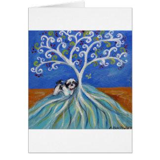 Árbol de Spritual del amor de Shih Tzu Tarjeta De Felicitación