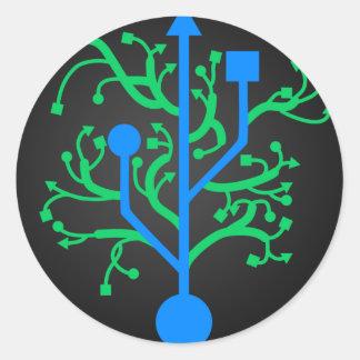 Árbol de USB Pegatina Redonda