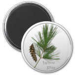 Árbol de White Pine Imán Redondo 5 Cm