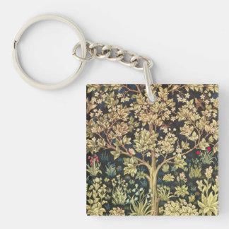 Árbol de William Morris de la vida Llavero Cuadrado Acrílico A Doble Cara