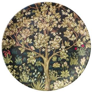 Árbol de William Morris de la vida Platos De Cerámica