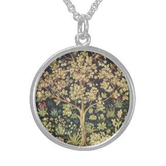 Árbol de William Morris del arte floral del Collares De Plata Esterlina