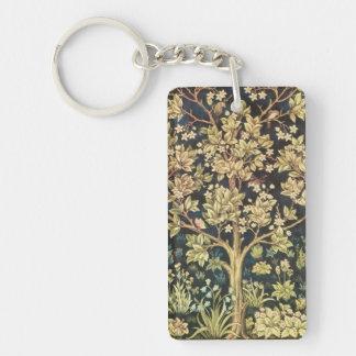 Árbol de William Morris del arte floral del Llavero Rectangular Acrílico A Doble Cara