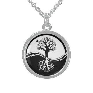 Árbol de Yin y de Yang Collares De Plata Esterlina