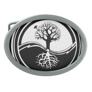 Árbol de Yin Yang blanco y negro Hebillas Cinturon Ovales