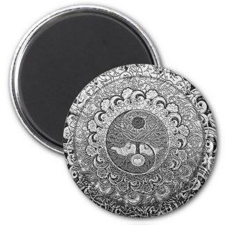 Árbol de Yin Yang de la vida en colores plata Imán Redondo 5 Cm