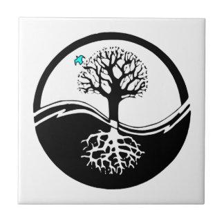 Árbol de Yin Yang del negro y del blanco de la Azulejo Cuadrado Pequeño