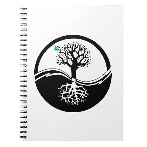 Árbol de Yin Yang del negro y del blanco de la Libretas