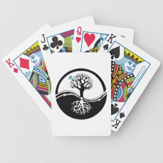 Árbol de Yin Yang del negro y del blanco de la vid Baraja Cartas De Poker