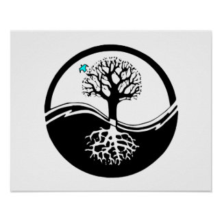 Árbol de Yin Yang del negro y del blanco de la vid Póster