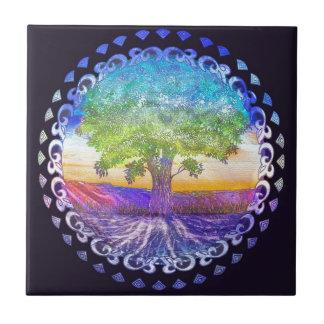 Árbol del amor de la vida, paz, balanza azulejo cuadrado pequeño