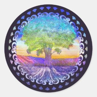 Árbol del amor de la vida, paz, balanza pegatina redonda