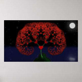 Árbol del amor - fractal del corazón (buena lluvia póster