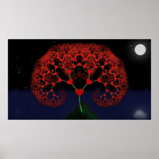 Árbol del amor - fractal del corazón (claro de lun póster