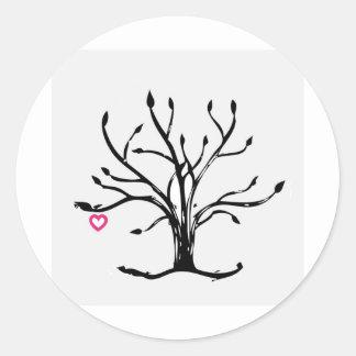 Árbol del amor pegatina redonda