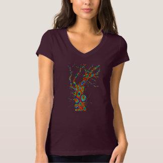 Árbol del arco iris - camiseta del cuello en v del