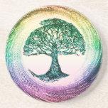 Árbol del arco iris de la vida de Amelia Carrie Posavasos Manualidades