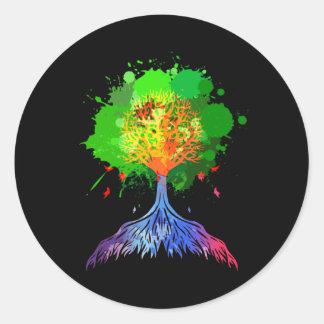 Árbol del arco iris de la vida etiquetas redondas