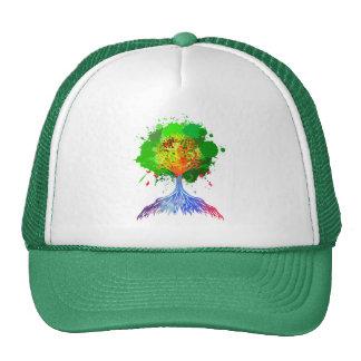 Árbol del arco iris de la vida gorros