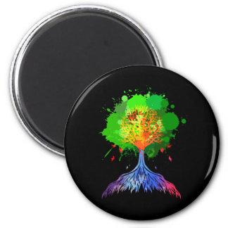 Árbol del arco iris de la vida imán de nevera
