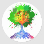 Árbol del arco iris de la vida pegatina redonda