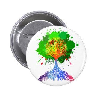 Árbol del arco iris de la vida pin redondo de 2 pulgadas