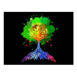 Árbol del arco iris de la vida tarjetas postales