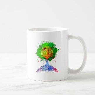 Árbol del arco iris de la vida taza
