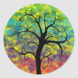 Árbol del arco iris de los pegatinas de la luna de pegatinas redondas