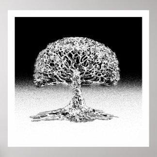 Árbol del arrecife de coral de la vida blanco y posters