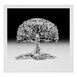 Árbol del arrecife de coral de la vida blanco y póster