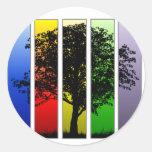 Árbol del arte pop etiqueta redonda